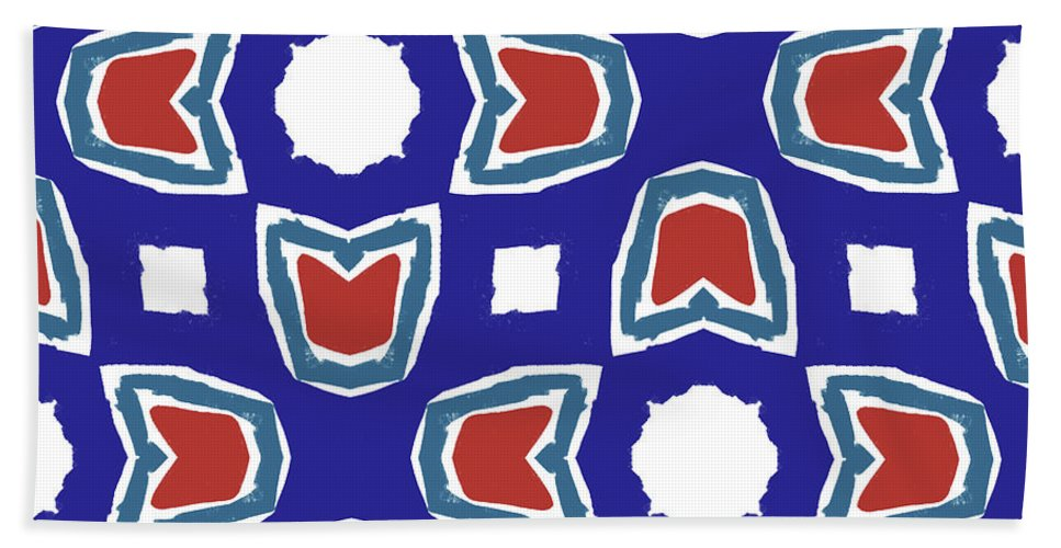 Red Beach Towel featuring the digital art Red White And Blue Tulips Pattern- Art By Linda Woods by Linda Woods