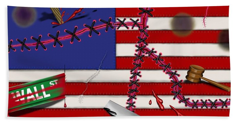 Surrealism Beach Towel featuring the digital art Red White and Bruised III by Robert Morin