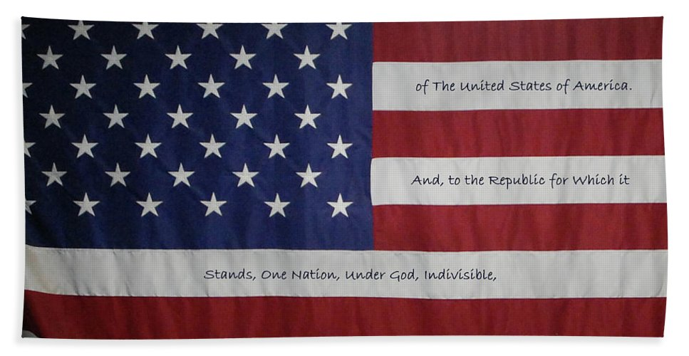 America Beach Towel featuring the digital art Red White And True by DigiArt Diaries by Vicky B Fuller