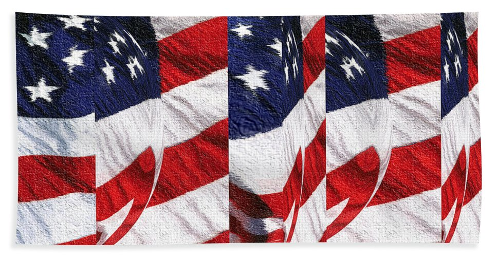 American+flag Beach Towel featuring the tapestry - textile Red White Blue - American Stars And Stripes by Peter Potter