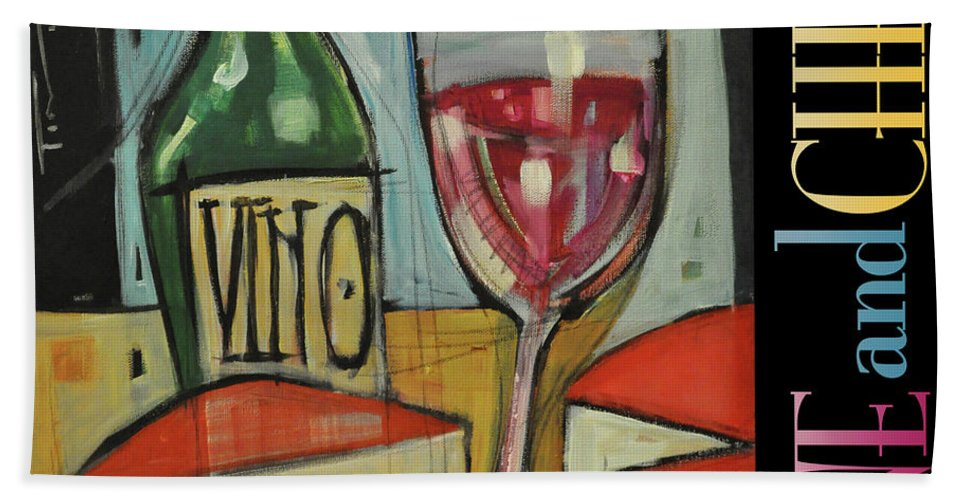 Red Wine Beach Towel featuring the painting Red Wine And Cheese Poster by Tim Nyberg