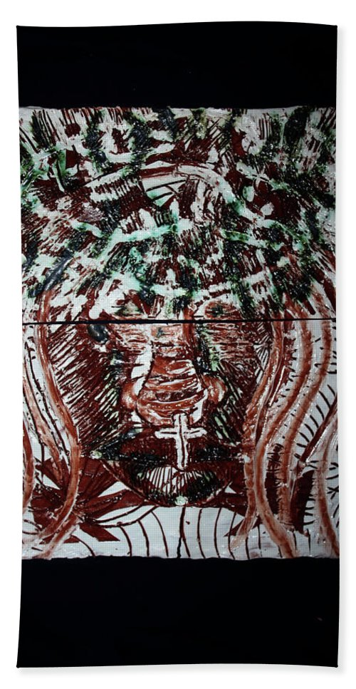 Jesus Elohimplaquesmamamama Africa Twojesus Beach Towel featuring the ceramic art Redeemer by Gloria Ssali