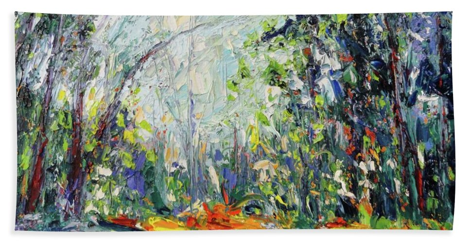Oil Beach Towel featuring the painting Redwood Dream by Shannon Grissom