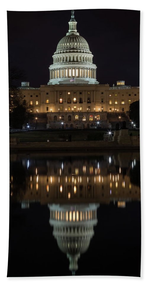 Washington Dc Beach Towel featuring the photograph Reflecting At The Capitol by John Daly