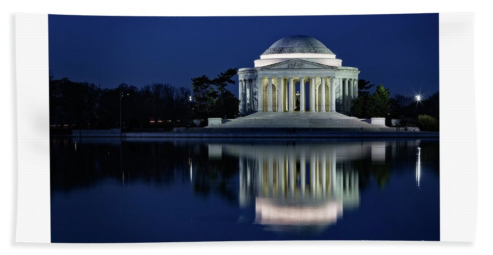 Washington Beach Towel featuring the photograph Reflection At Blue Hour by Izet Kapetanovic
