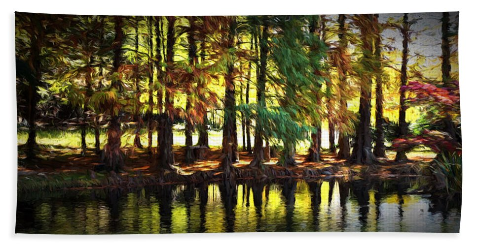 Ann Keisling Beach Towel featuring the photograph Reflection In Paint by Ann Keisling