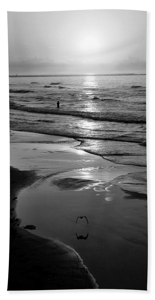 Morning Beach Towel featuring the photograph Reflection Of Bird In Flight by Marilyn Hunt