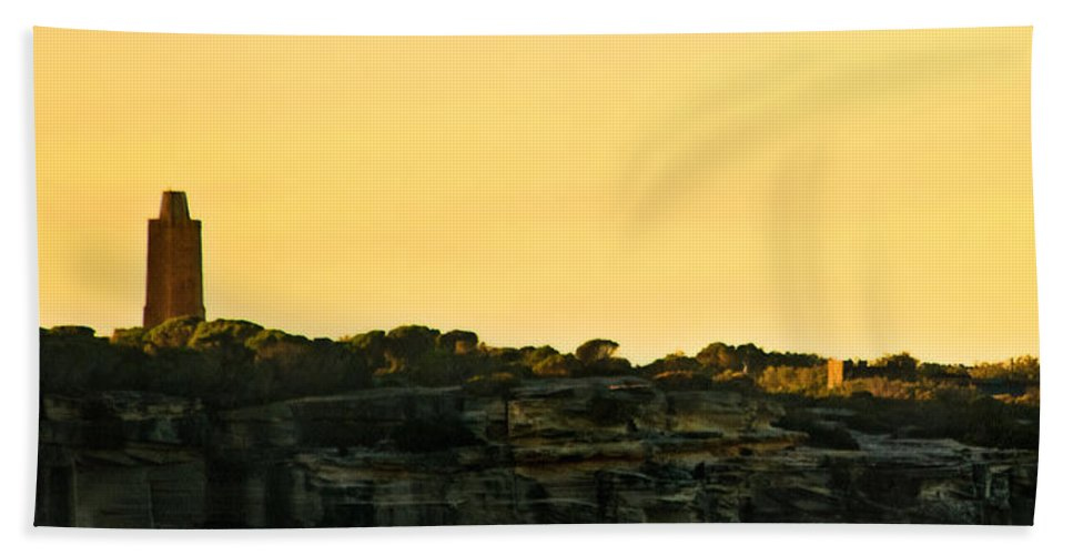 Sunset Beach Towel featuring the photograph Reflection Of Sunset At North Head by Miroslava Jurcik