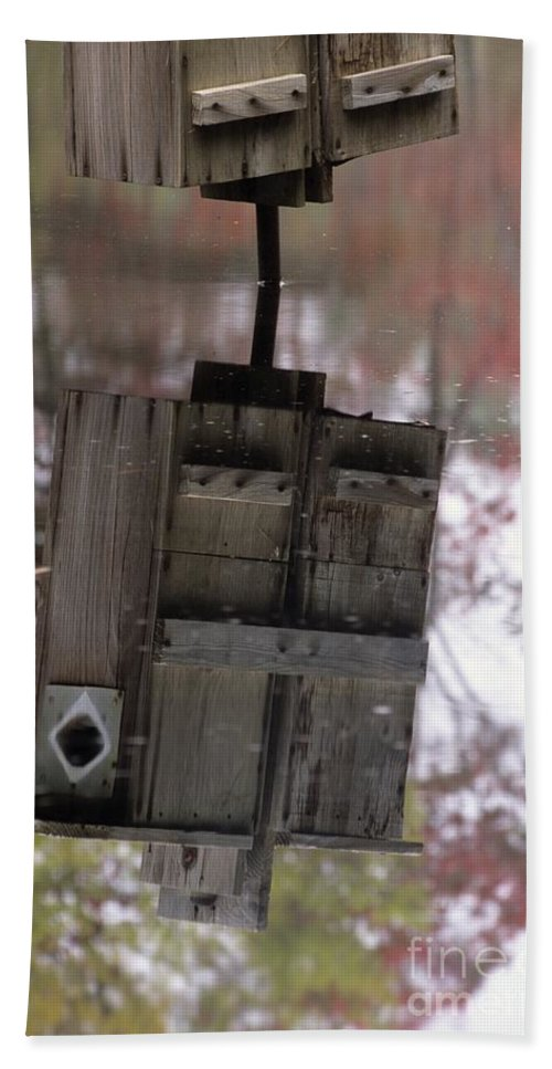 Wood Duck Beach Towel featuring the photograph Reflection Of Wood Duck Box In Pond by Erin Paul Donovan