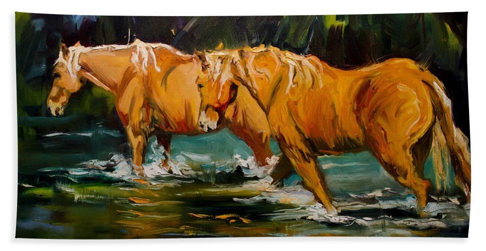 Equine Beach Towel featuring the painting Reflection River Horse by Diane Whitehead