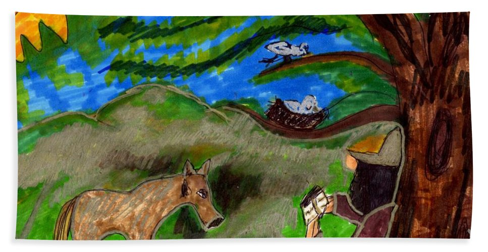 Monk Reading With A Deer And Birds Watching Beach Towel featuring the mixed media Reflections And Prayer Of St. Francis by Elinor Helen Rakowski