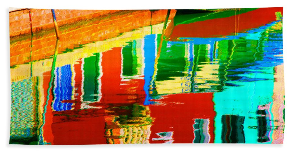 Abstract Beach Towel featuring the pastel Reflections Near The Red Hull by Donna Corless
