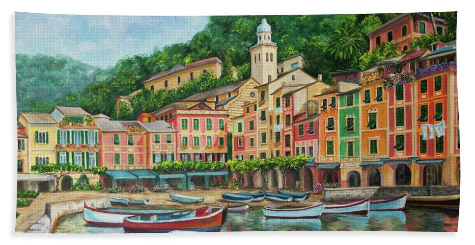 Portofino Italy Art Beach Towel featuring the painting Reflections Of Portofino by Charlotte Blanchard
