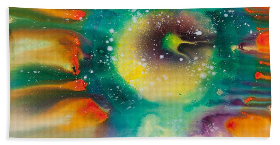 Ilisa Millermoon Beach Towel featuring the painting Reflections Of The Universe No. 2062 by Ilisa Millermoon