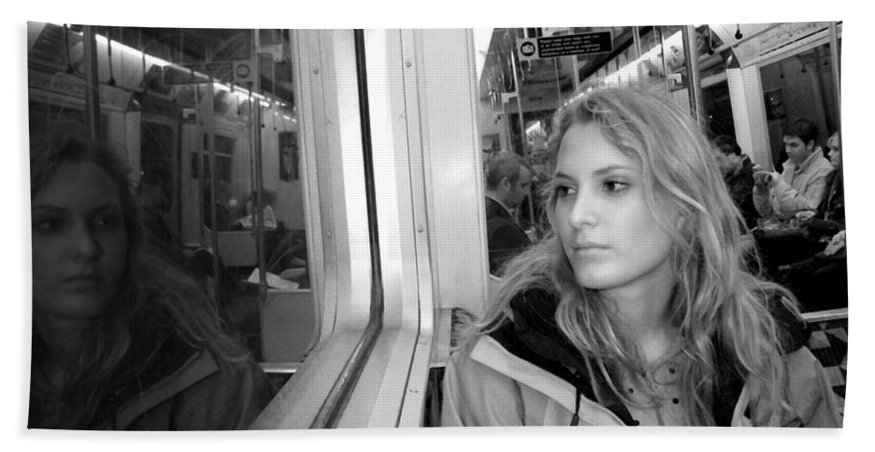 London Beach Towel featuring the photograph Reflections On A London Train by Madeline Ellis