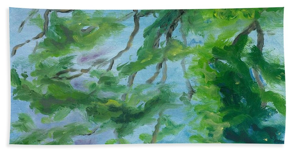 Reflections Beach Towel featuring the painting Reflections On The Mill Pond by Paula Emery