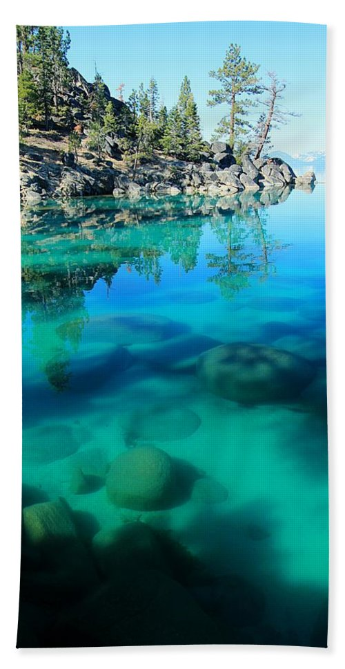 Lake Tahoe Beach Towel featuring the photograph Reflective Liquid Dreams by Sean Sarsfield