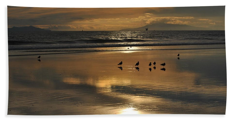 Beach Framed Prints Beach Towel featuring the photograph Reflective Sunset by Ken Waters