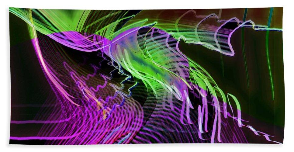 Drawing Beach Towel featuring the digital art Reflexions Green by Helmut Rottler