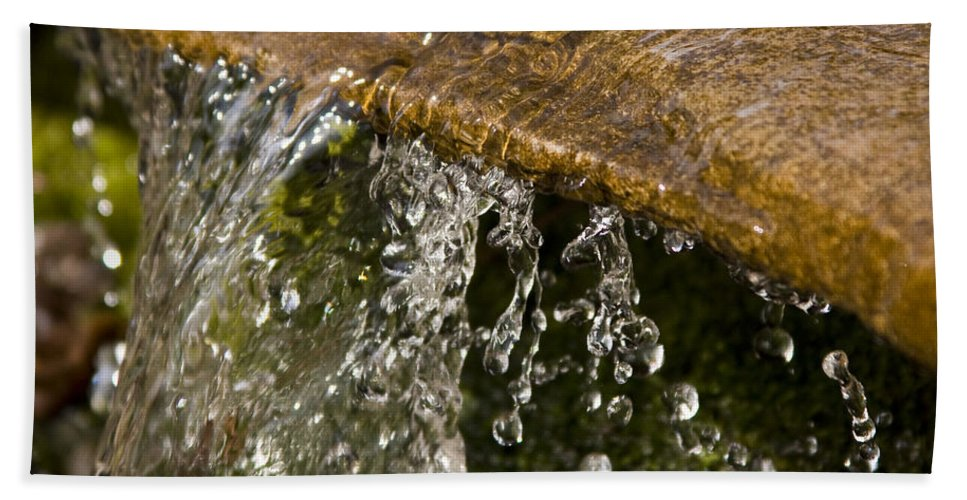 Water Stream Creek Drop Droplet Stone Run Nature Clear Cold Fall Beach Sheet featuring the photograph Refreshment by Andrei Shliakhau