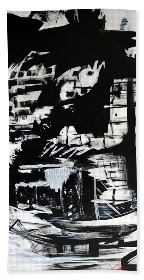Black And White Beach Towel featuring the painting Refugees Of Climate Change by Jack Diamond