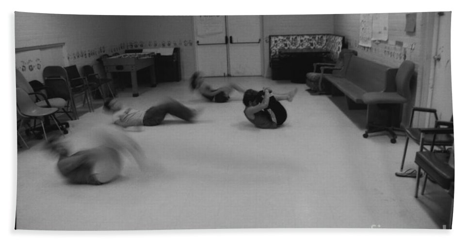 Photo Photography Black And White Digital Graphic Photoshop Rehearse Rehearsal Practice Dance Jazz Ballet Modern Music Stretch Hold Tuck Bend Roll Arch Ball Head Neck Arm Body Leg Foot Feet Knee Room Chair Sofa Couch Floor Sit Seat Wall Door Rules Exit Inverse Dark Space Open Beach Towel featuring the photograph Rehearsal by Heather Kirk