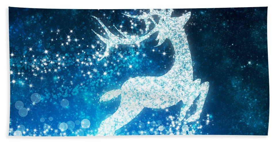 Animal Beach Towel featuring the photograph Reindeer Stars by Setsiri Silapasuwanchai
