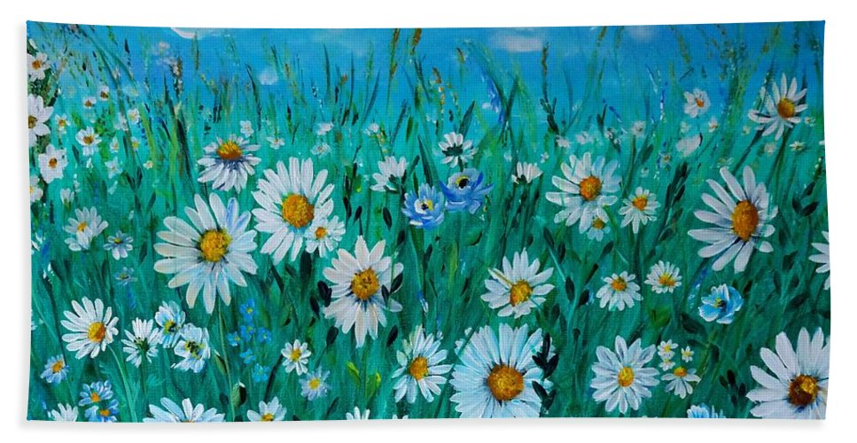 Acrylic Beach Towel featuring the painting Relax 1 by Tzvetanka Apostolova