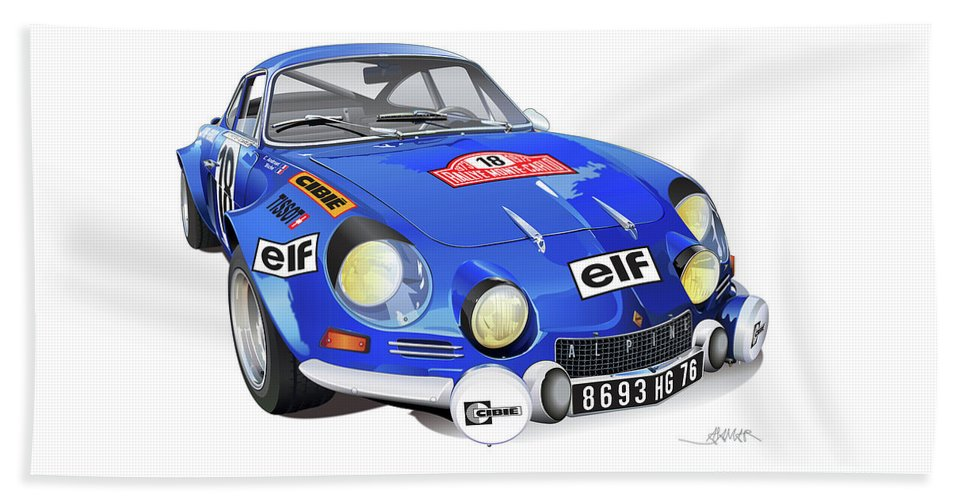 Transportation Beach Towel featuring the drawing Alpine Renault A110 by Alain Jamar