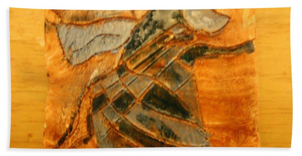 Jesus Beach Towel featuring the ceramic art Renewal - Tile by Gloria Ssali