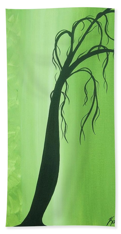Green Beach Towel featuring the painting Renewing by Katie Slaby
