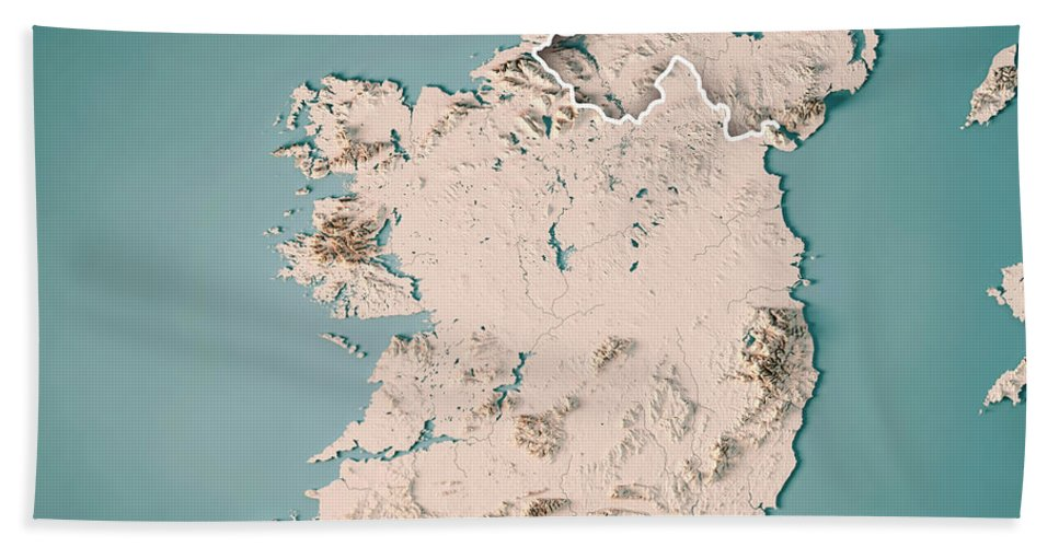 Map Of Ireland 3d.Republic Of Ireland Country 3d Render Topographic Map Neutral Beach Sheet