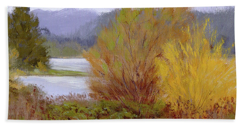 Water Beach Towel featuring the painting Reservoir Spring by Karen Ilari