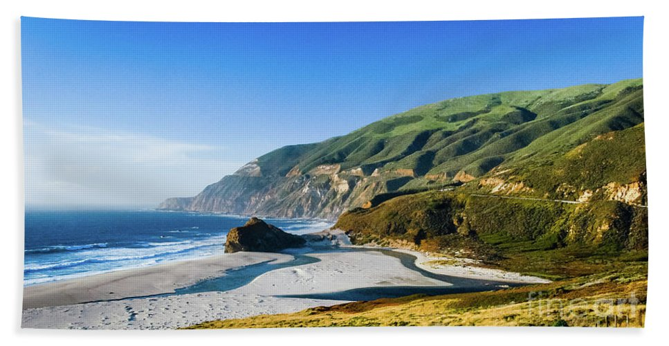 Big Sur Beach Towel featuring the photograph Rest Stop by Jerry Sellers