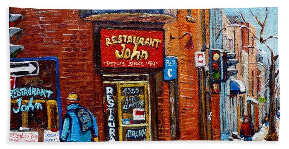 Restaurant John Montreal Beach Towel featuring the painting Restaurant John Montreal by Carole Spandau
