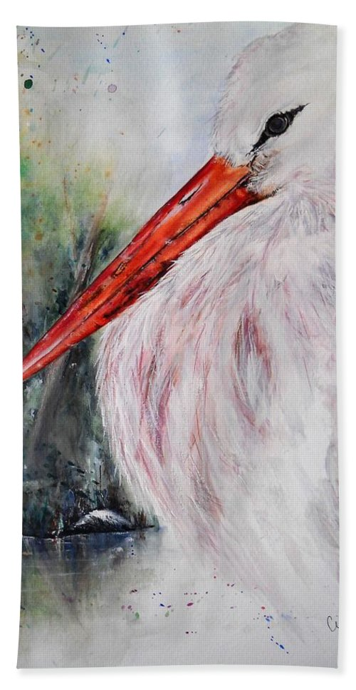Natural Beach Towel featuring the painting Resting by Lisa Cini