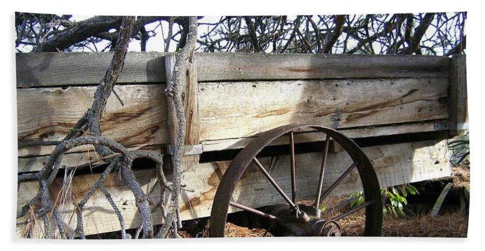 #retiredfarmwagon Beach Towel featuring the photograph Retired Farm Wagon by Will Borden