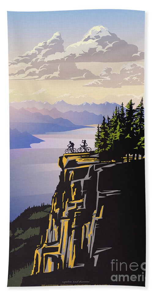 Cycling Beach Towel featuring the digital art Retro Beautiful BC Travel poster by Sassan Filsoof