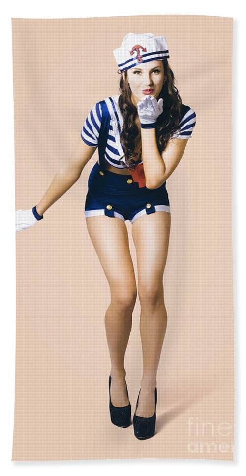Girl Beach Towel featuring the photograph Retro Pinup Girl Blowing Travelling Departure Kiss by Jorgo Photography - Wall Art Gallery