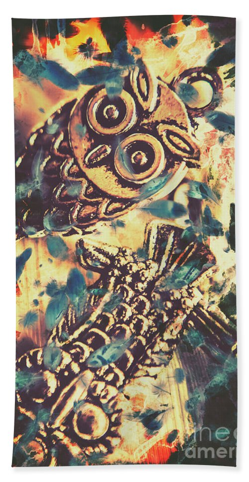 Owl Beach Towel featuring the photograph Retro Pop Art Owls Under Floating Feathers by Jorgo Photography - Wall Art Gallery
