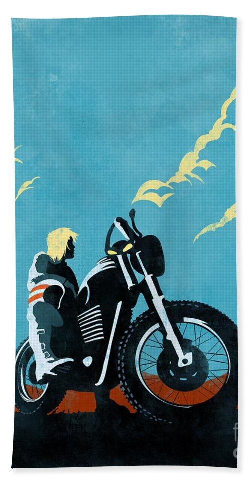 Caferacer Beach Towel featuring the painting Retro Scrambler Motorbike by Sassan Filsoof