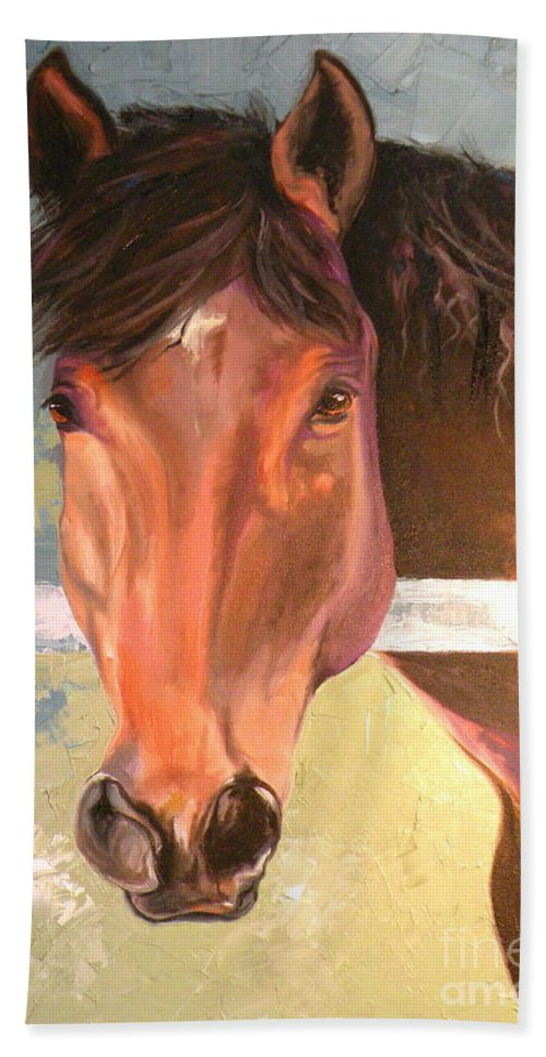 Horse Beach Towel featuring the painting Reverie - Quarter Horse by Susan A Becker