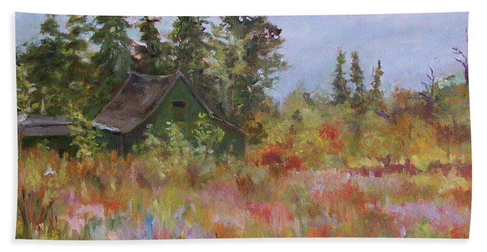 Foliage Beach Towel featuring the painting Revolutionary Barn by Alicia Drakiotes