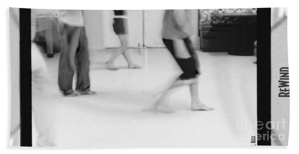 Photo Photography Black And White Digital Graphic Photoshop Rehearse Rehearsal Practice Dance Jazz Ballet Modern Music Stretch Arm Body Leg Foot Feet Knee Room Door Rules Exit Inverse Negative Dark Light Bright Gray Frame Slide Back Backward Stripe Bar Jeans Beach Towel featuring the photograph Rewind by Heather Kirk