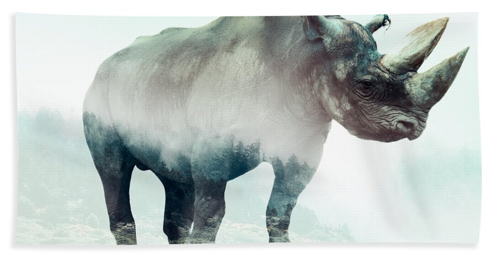 Rhino Double Exposure Beach Towel featuring the digital art Rhino by Karlo Agfa