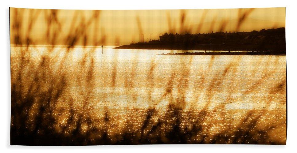 Rhos Beach Towel featuring the photograph Rhos Point Viewed Through Beach Grass by Mal Bray