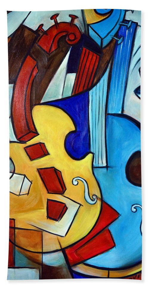 Cellos Beach Towel featuring the painting Rhythmic Cellos 2 by Valerie Vescovi