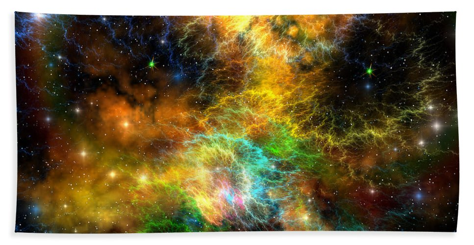 Science Fiction Beach Towel featuring the painting Ribbon Nebula by Corey Ford