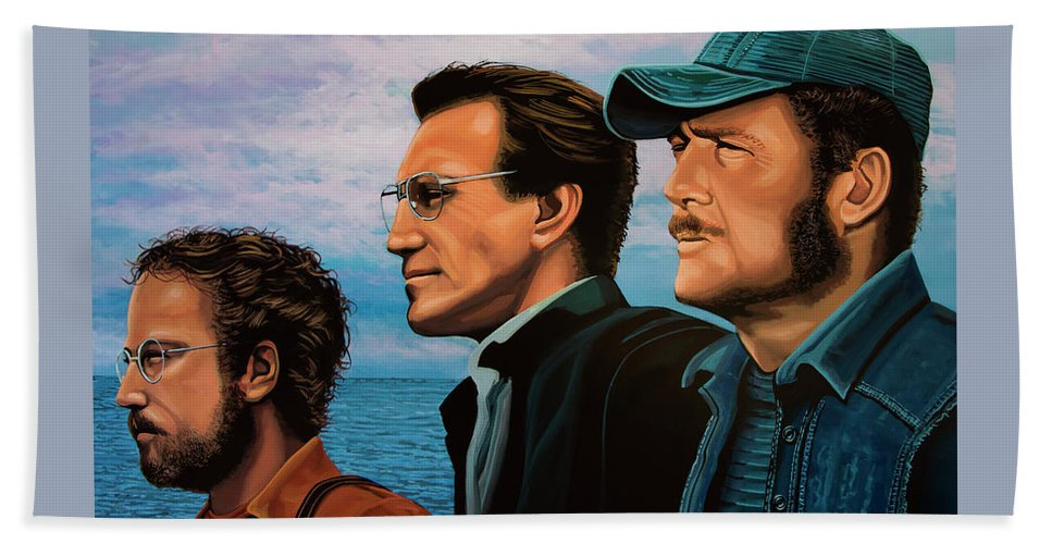 Jaws Beach Towel featuring the painting Jaws With Richard Dreyfuss, Roy Scheider And Robert Shaw by Paul Meijering