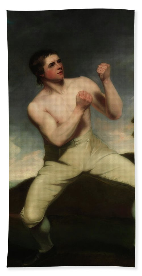 Painting Beach Towel featuring the painting Richard Humphreys, The Boxer                   by John Hoppner